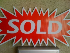 Sold sign for homes